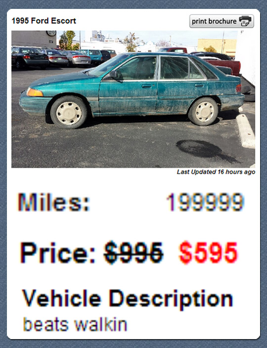 The most honest used car ad ever…