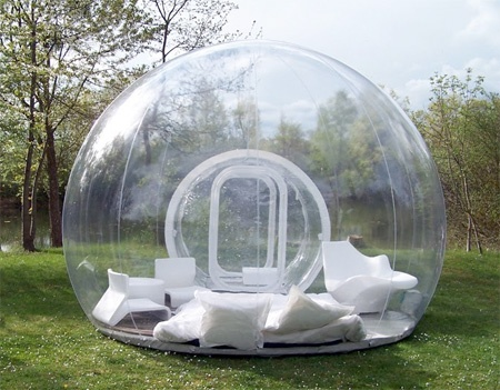 & Inflatable lawn tent. Imagine laying in this thing in the rain.
