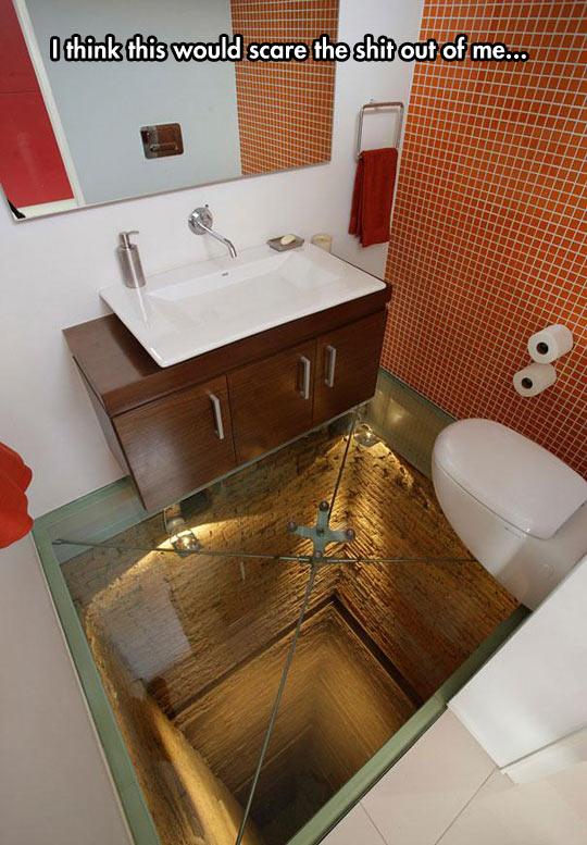 Glass-Floored Bathroom Over An Elevator Shaft