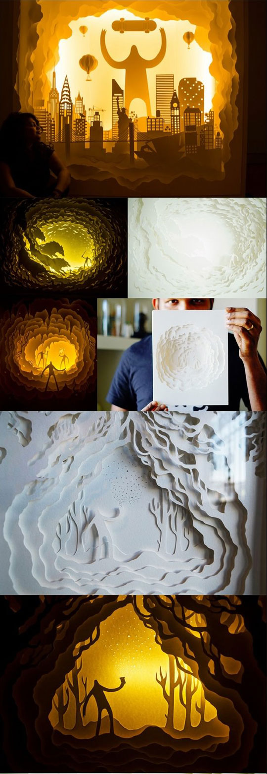 Beautiful Illuminated Paper Cut Light Box Dioramas