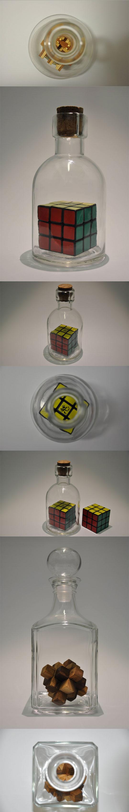 cool-puzzle-inside-bottle-illusion-Rubik