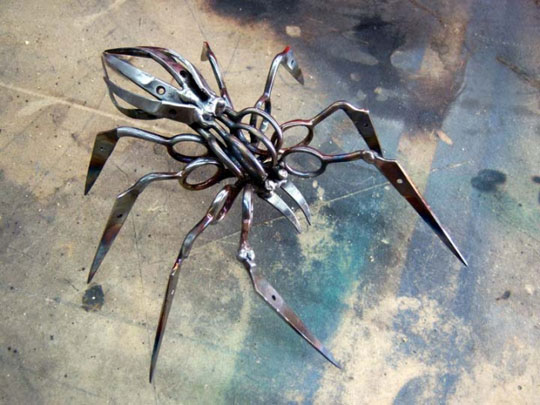 A Spider Completely Made Out Of Scissors