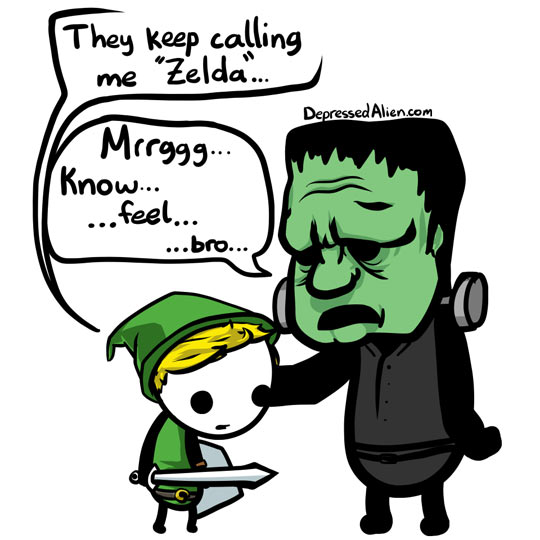 Zelda and Frankenstein Commiserate