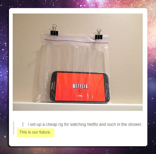 Watching Netflix In The Shower