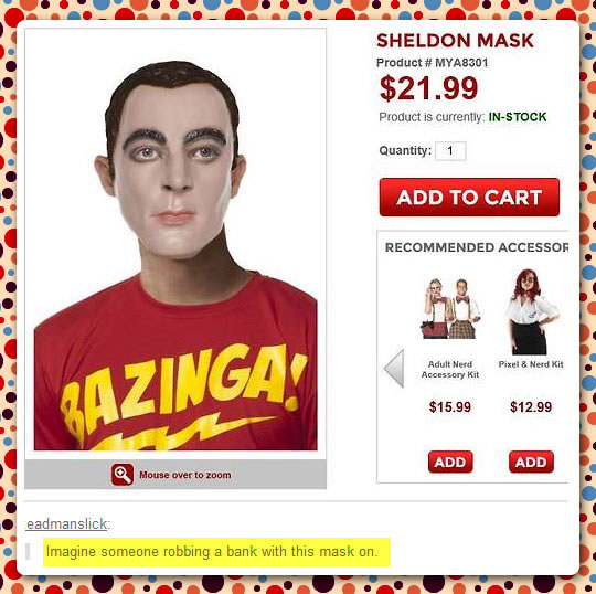 Sheldon Mask Has One Purpose Only