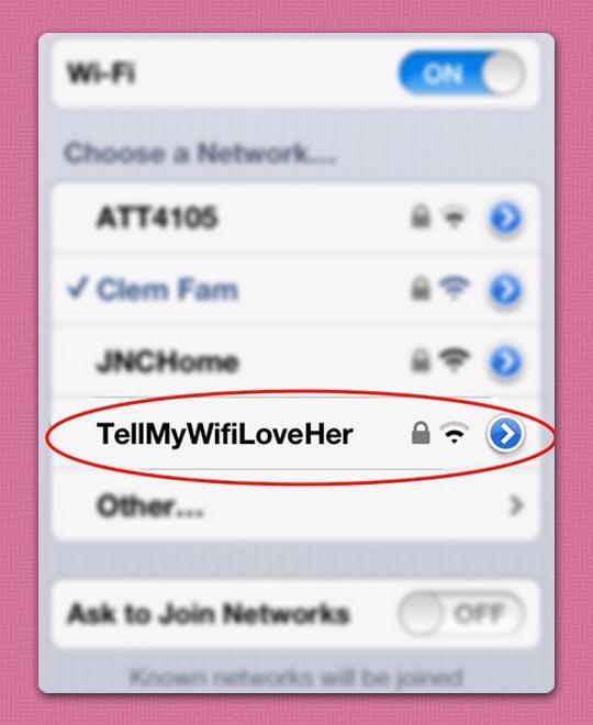 Touching WiFi Names