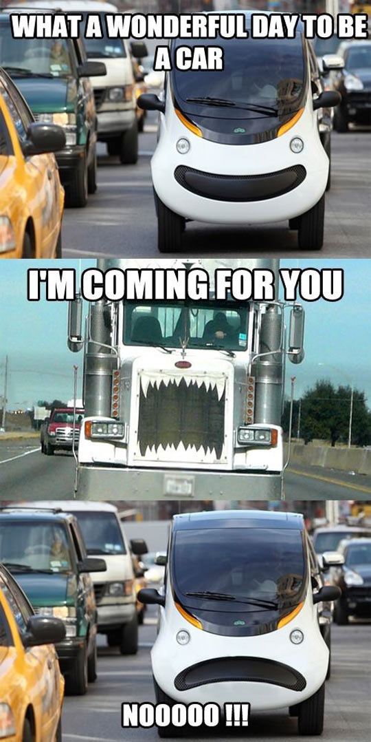 funny-car-happy-face-truck-highway