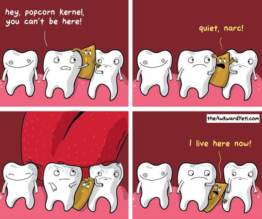 funny-cartoon-teeth-popcorn-kernel