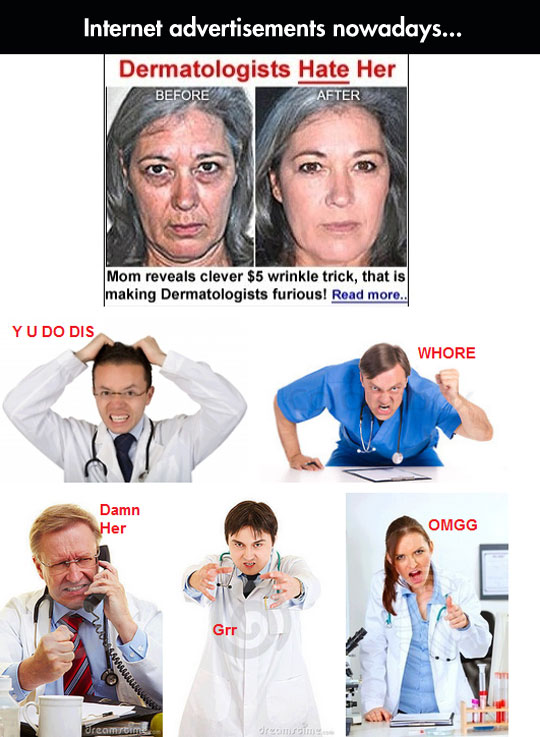 funny-dermatologists-ad-woman-wrinkle-angry
