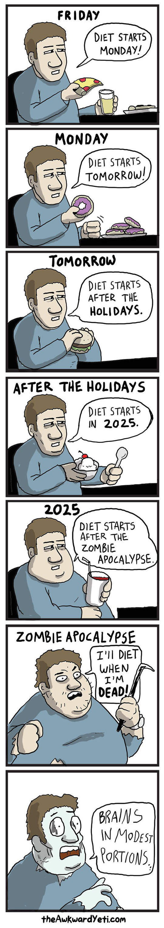 funny-diet-procrastination-pizza-zombie-comic