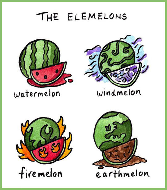 funny-elements-melons-water-fire-earth-wind