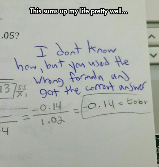 The Wrong Formula But It Does Add Up