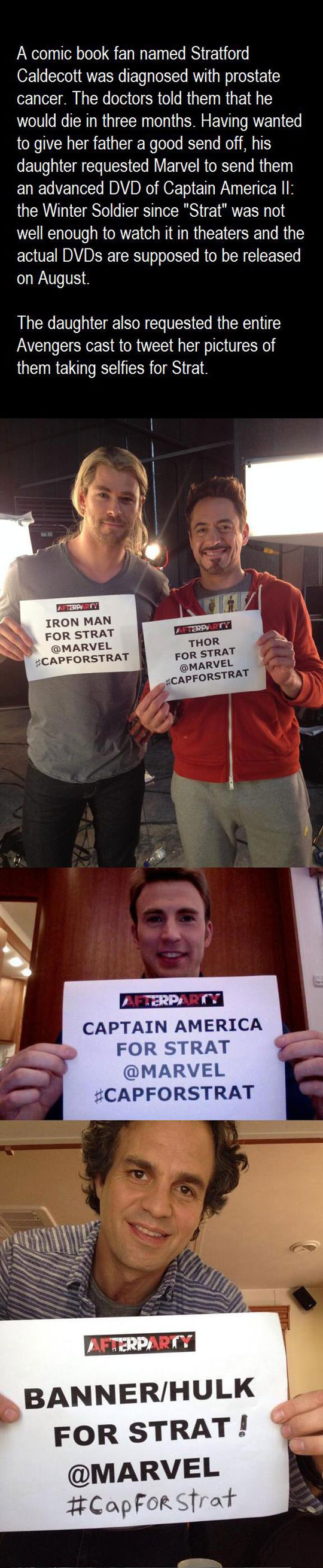 Avengers Selfie For Cancer Patient
