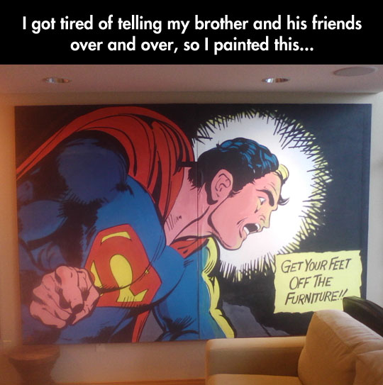 cool-Superman-painting-feet-off-furniture