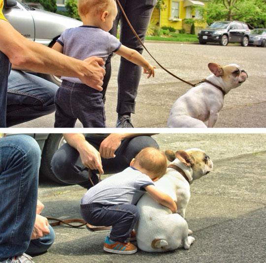 cute-baby-hugging-dog-street