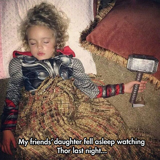 cute-little-girl-Thor-costume-sleeping