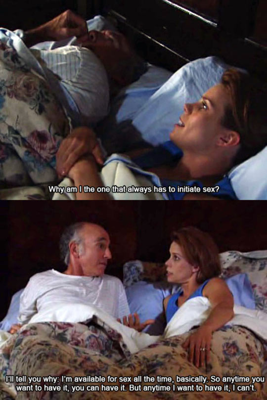 funny-Larry-David-bed-woman