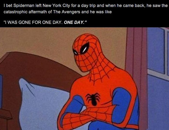 funny-Spiderman-Avengers-disaster-aftermath
