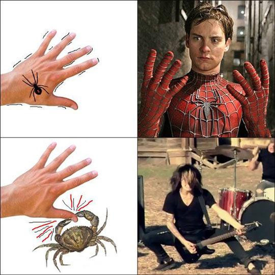 funny-Spiderman-bite-crab-musician