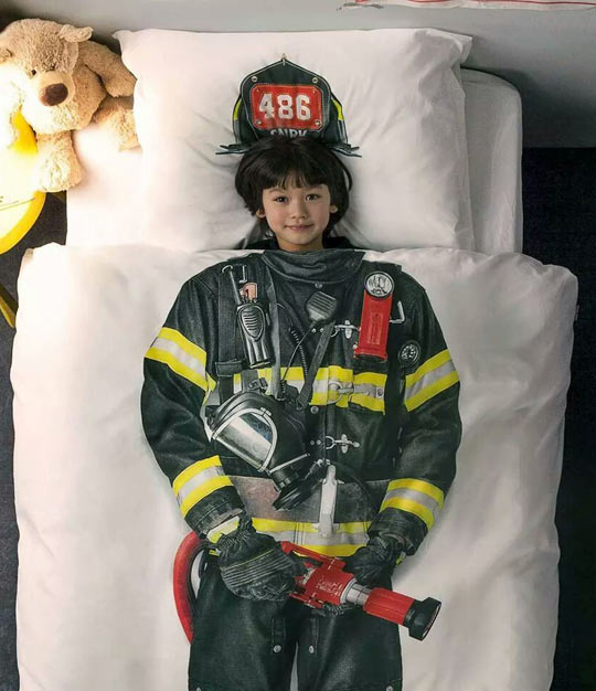 funny-bed-spread-pillow-firefighter-kid