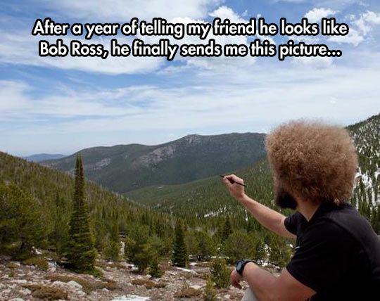 funny-friend-Bob-Ross-painting-mountains