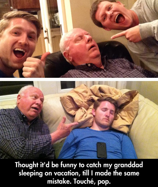 funny-grandfather-sleeping-grandson-couch-phone