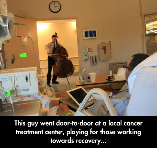 funny-hospital-cancer-treatment-center-playing-contrabass