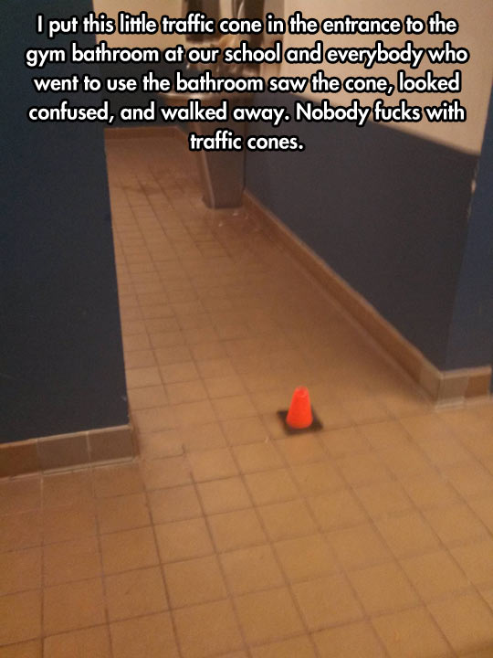 Nobody Messes With Traffic Cones