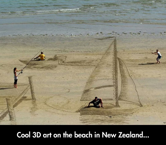 A Beautiful Beach Scene Drawn On The Sand