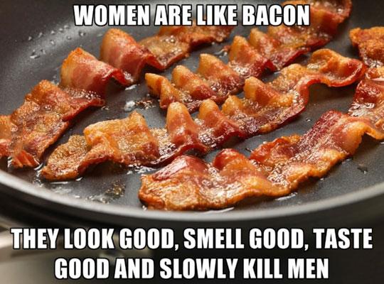 funny-woman-comparison-bacon-tasty