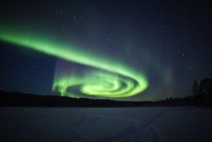 Spiral Aurora Over Finland