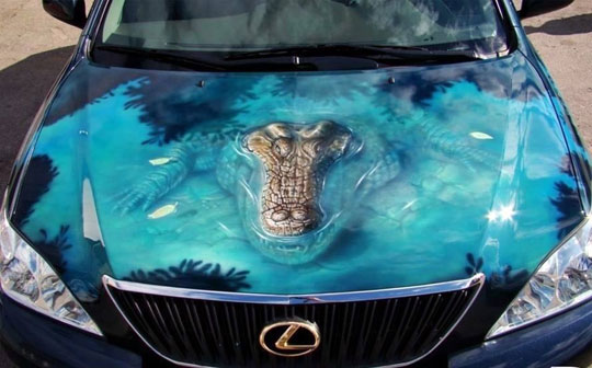 cool-car-paint-job-alligator-water