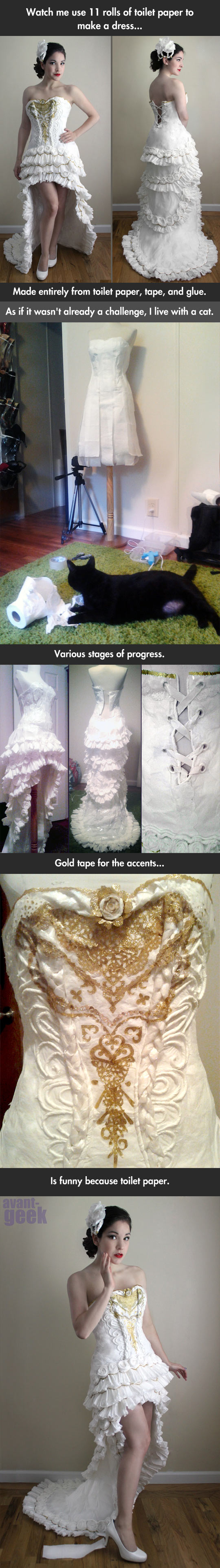 Dress Made Out Of Toilet Paper