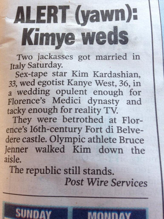 The New York Post Reported The Wedding Perfectly