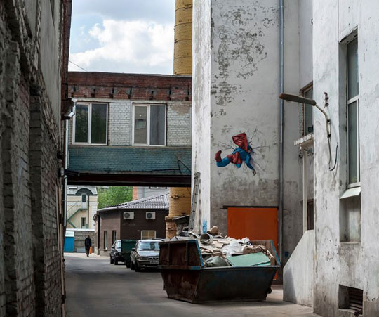 funny-Superman-painting-street-crashed