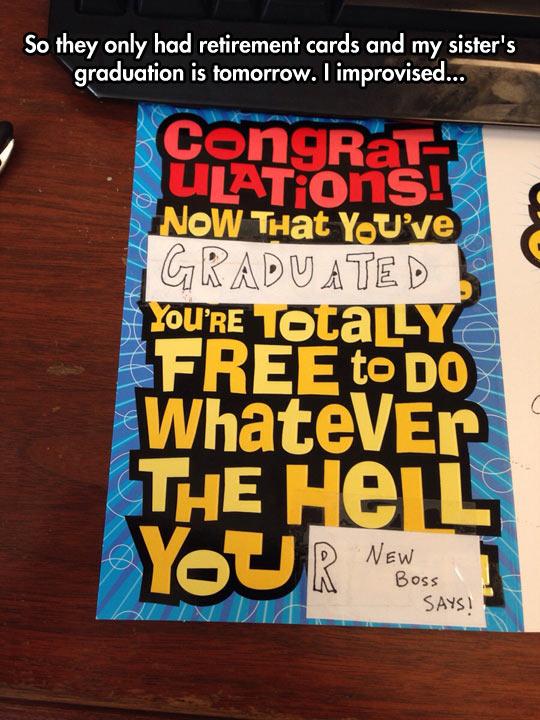 Improvising A Graduation Card