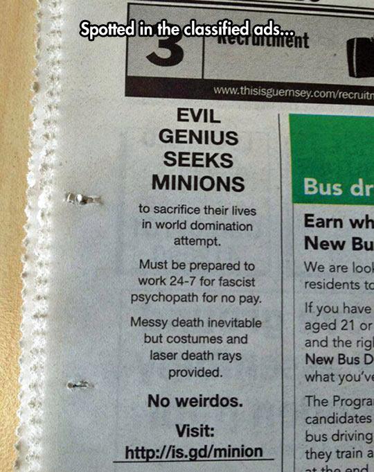 Evil Genius Needs Help