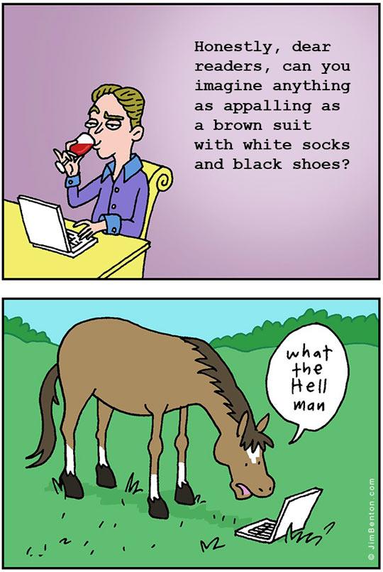 funny-clothes-critic-horse-comic