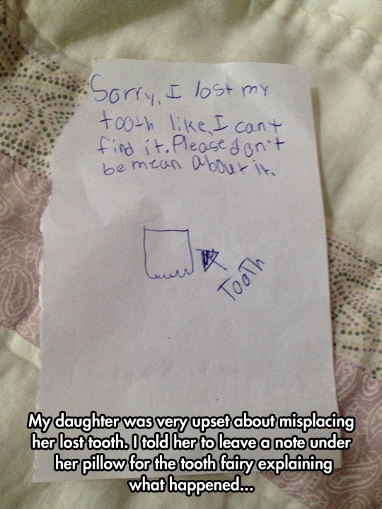 Little Girl Lost Her Tooth And Left A Note