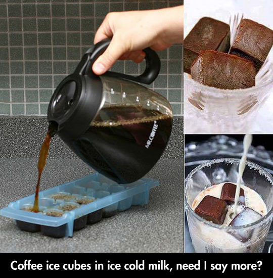Ice Cube Coffee In Cold Milk