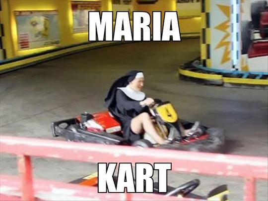 funny-nun-karting-riding-woman