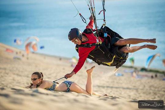 Crazy Paragliding Pilot