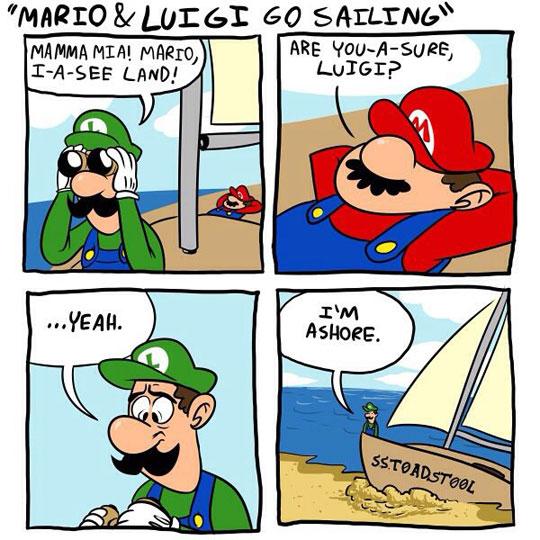Mario And Luigi Make It To Shore