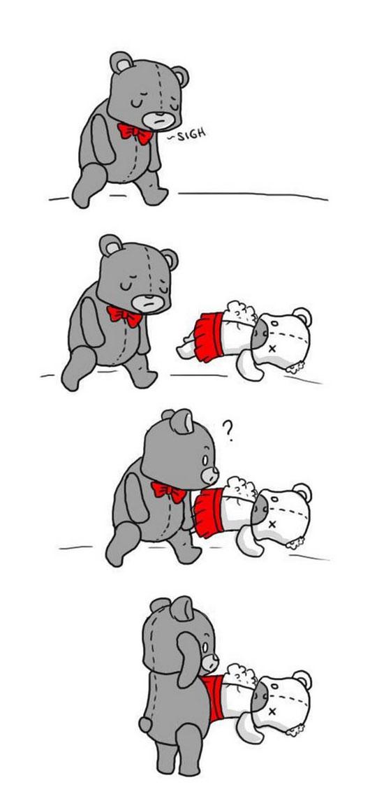 funny-webcomic-bear-fixing-Teddy-pieces-heart-broken