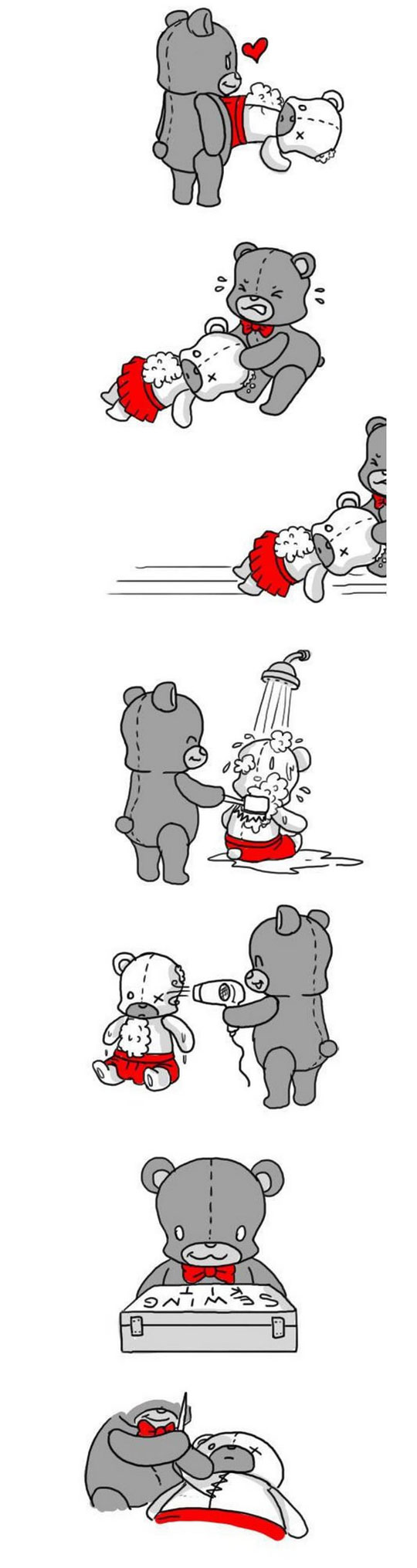 funny-webcomic-bear-fixing-Teddy-pieces-heart-mended