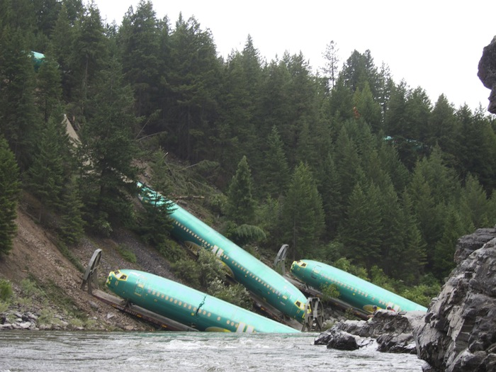 Went rafting, saw some new Boeing 737 fuselages in the river. No biggie