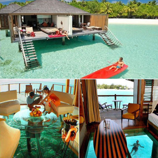 Water Bungalows With Glass Floor In Maldives