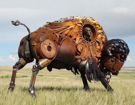 cool-scrap-metal-bison-field