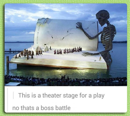 cool-theater-giant-book-water-skeleton-music