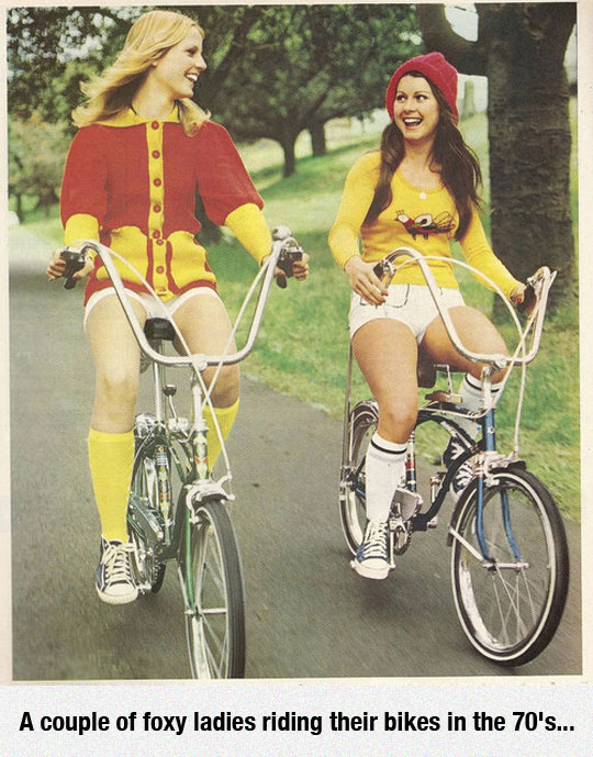 A Couple Of Ladies Riding Their Bikes In The 70